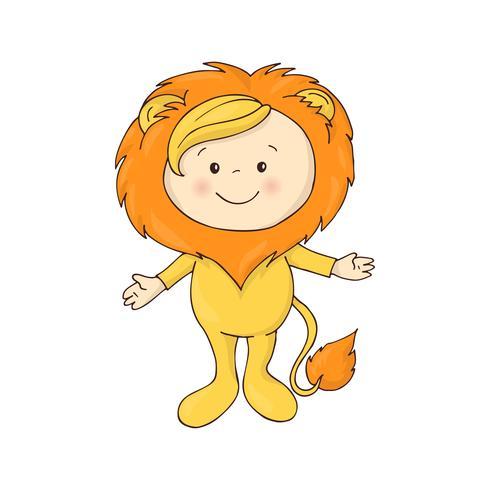 illustratie van schattige baby in een leeuw kostuum kostuum vector op witte achtergrond