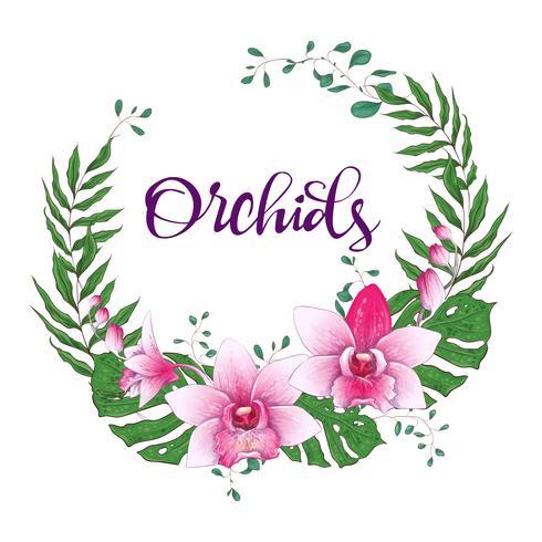 Cadre de design floral. Orchidée, eucalyptus, verdure. Faire-part de mariage.