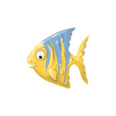 Gullig tecknadfisk. Vektor clip art illustration