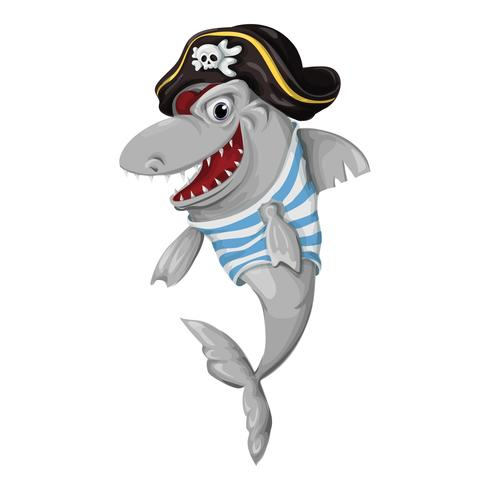 Shark Pirate on a white background vector