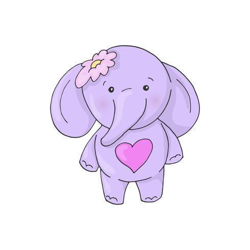 Elefante encantador de la muchacha de la historieta linda.