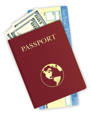 Pasaporte con dinero y línea aérea boleto ilustración vectorial