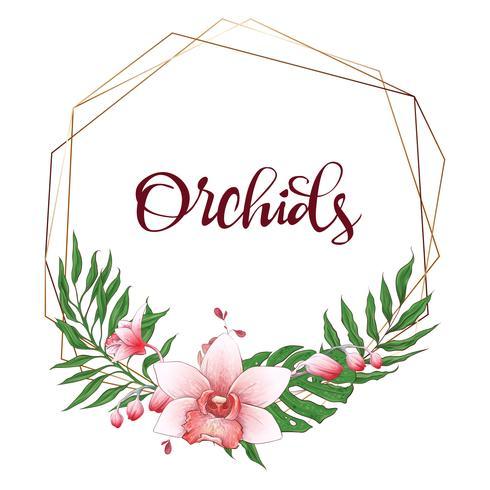 Floral design geometric frame. Orchid, eucalyptus, greenery. Wedding card.