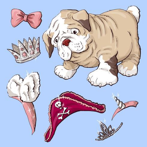 Happy cartoon puppy hondje, portret van schattige kleine hond kraag dragen.