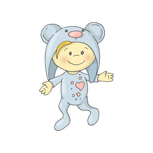 O menino encantador bonito dos desenhos animados em pijamas veste um urso.