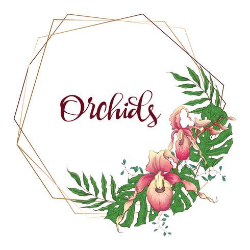 Floral design geometrisk ram. Orchid, eukalyptus, grönska. Bröllopskort. vektor
