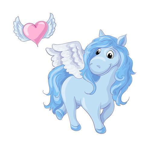 Cute cartoon blue pegasus. Vector illustration
