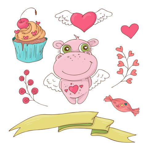 Satz des netten Karikaturflusspferds für Valentinstag mit Zubehör