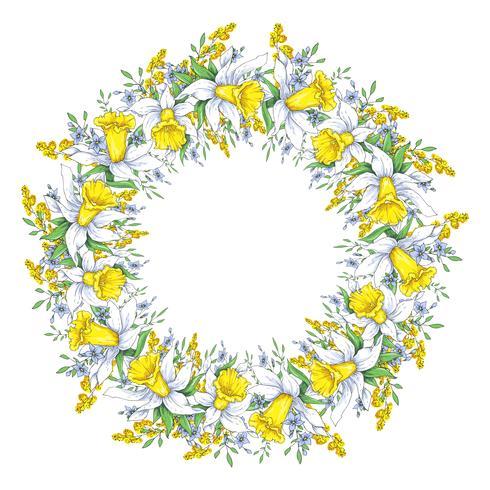 Guirnalda de primavera brillante con narcisos y nomeolvides. Ilustracion vectorial