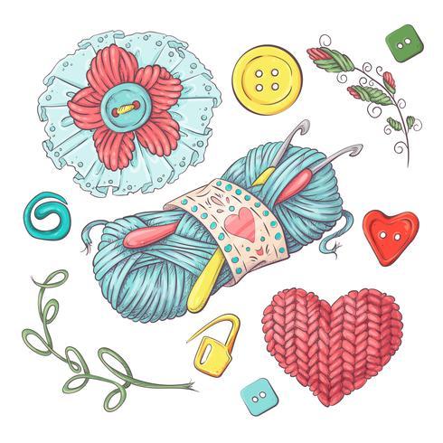 Conjunto para bola de hilo artesanal y accesorios para crochet y tejido.
