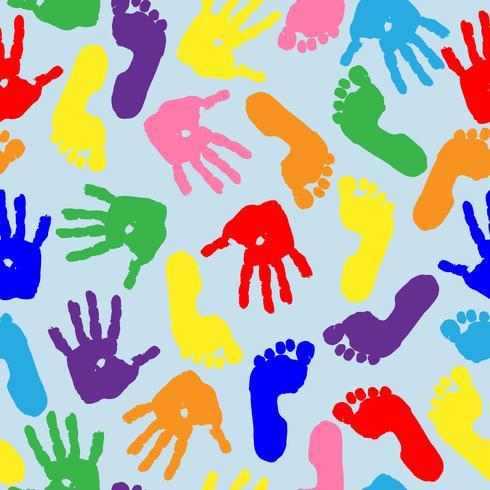 Impressão das palmas das mãos e dos pés das crianças. Padrão sem emenda