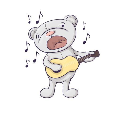 Um urso bonito dos desenhos animados do canto com uma guitarra.