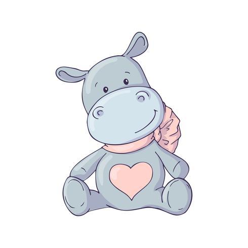 Hipopótamo Fofo. Ilustrações para crianças. Cartão do chuveiro de bebê