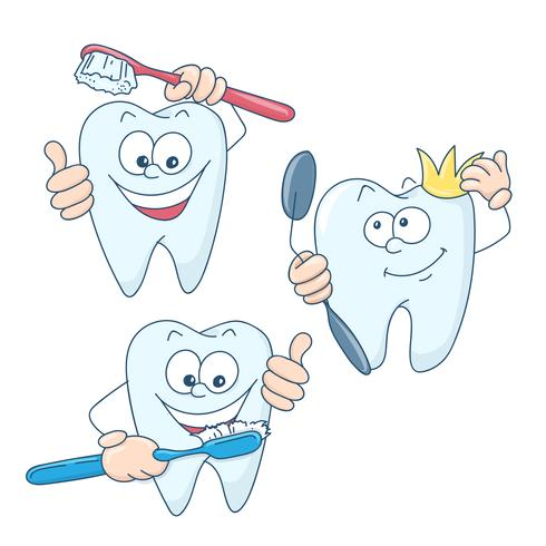 Konst på ämnet barns tandvård. Gullig tecknad hälsosam och vacker tänder. vektor