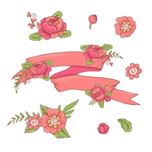 Cinta Floral De La Vendimia. Dibujado a mano doodle banner con flores silvestres.