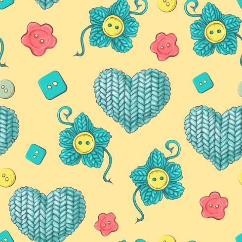 Lindo patrón sin costuras de bolas de hilo, botones, madejas de hilo o tejido y croché.