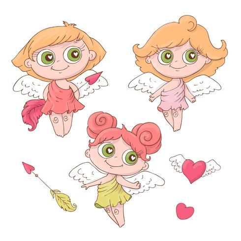 Set med söta tecknad änglar för Alla hjärtans dag med tillbehör