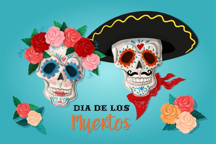 Invitación al cartel del día de la fiesta del difunto. Tarjeta de dea de los muertos con esqueleto y rosas. vector