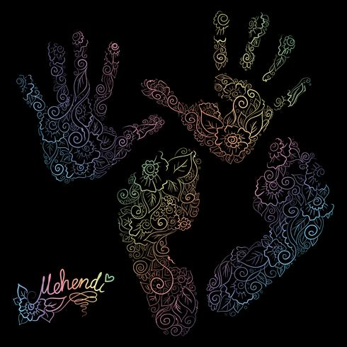 Imprint of children s palms and feet. Mehendi set.