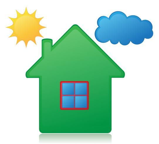 hus sol och moln koncept vektor illustration