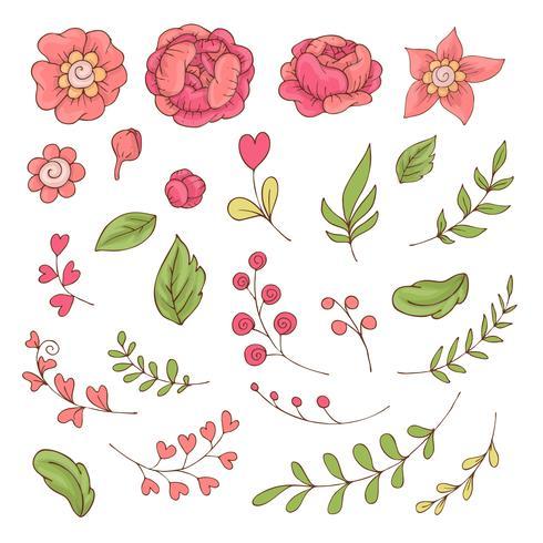 Set di fiori svegli del fumetto e foglie per San Valentino con accessori.