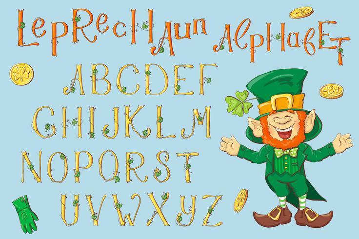 Goldbuchstaben eines St. Patrick's Day. Alphabet eingestellt.