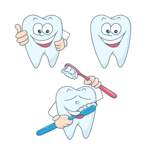 Arte sobre o tema da odontologia infantil. Dentes saudáveis e bonitos dos desenhos animados bonitos.