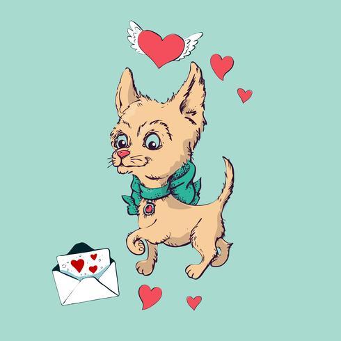 Assento feliz do cachorrinho dos desenhos animados, retrato do colar vestindo bonito do cão pequeno.