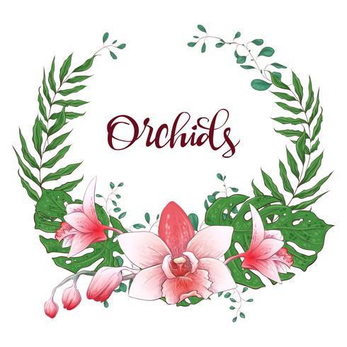 Floral design frame. Orchid, eucalyptus, greenery. Wedding card.