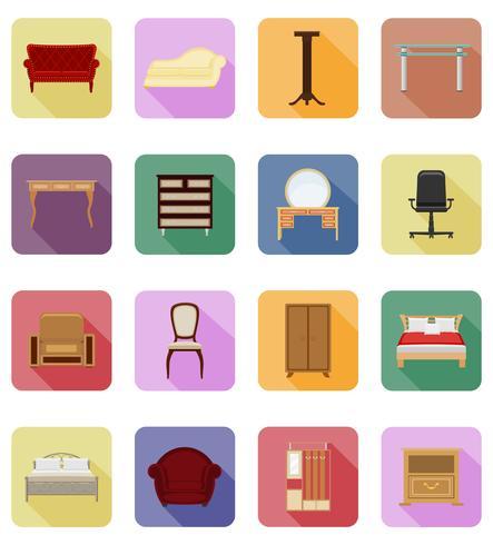 conjunto de muebles iconos planos vector illustration