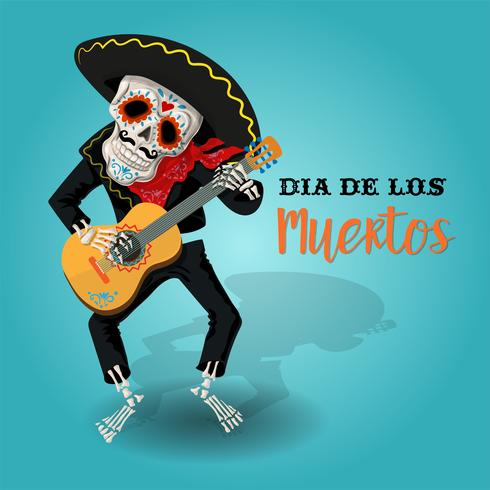 Affiche d'invitation à la fête du jour des morts. Carte Dea de los muertos avec squelette jouant de la guitare. vecteur