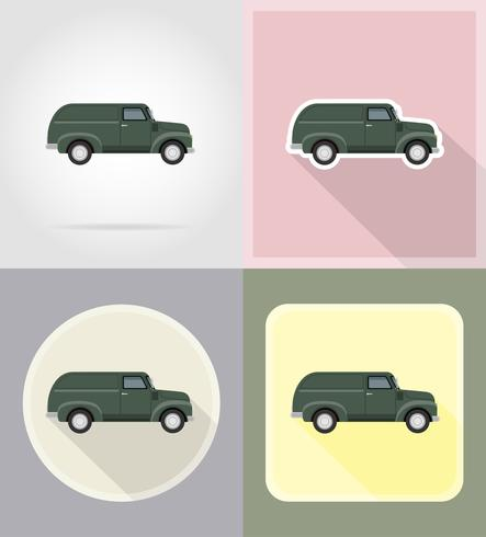 old retro car pickup flat icons vector illustration isolated