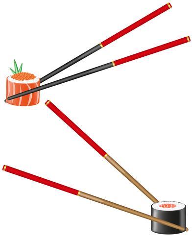 sushi et baguettes vector illustration