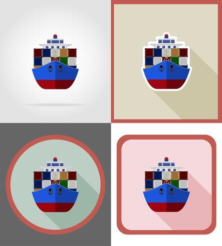 envío de la entrega por el mar en un barco iconos planos vector ilustración