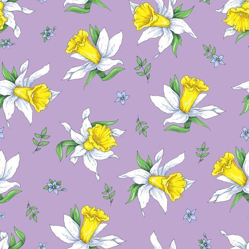 Modelo inconsútil de la elegancia con el narciso de las flores en fondo de la primavera
