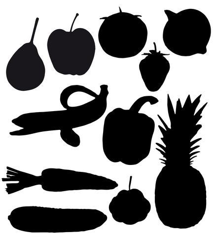 Las frutas y verduras son siluetas negras.