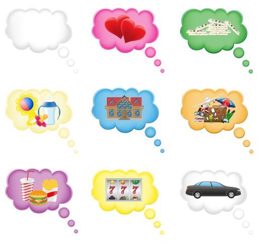 concepto de conjunto de iconos de un sueño en la ilustración vectorial de nube