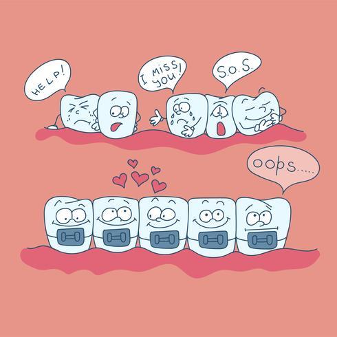 Konst på ämnet barns tandvård. Tänder med axlar. vektor