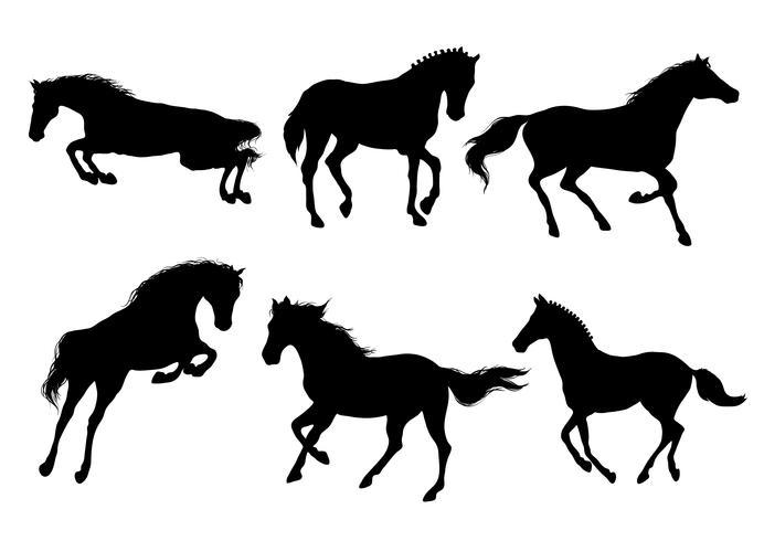 En uppsättning silhuett av att springa och hoppa vackra hästar. vektor