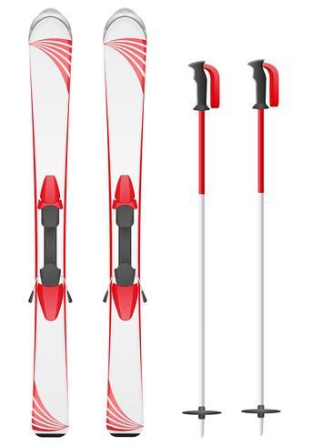 illustration vectorielle de skis montagne