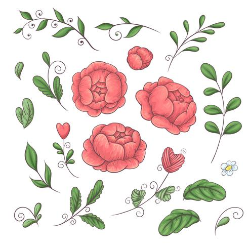Un conjunto de peonías y elementos florales en el estilo de dibujo a mano en 2019 colores de tendencia coral. vector