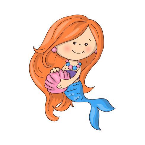 Liten söt sjöjungfrun med fiskar och snäckskal.