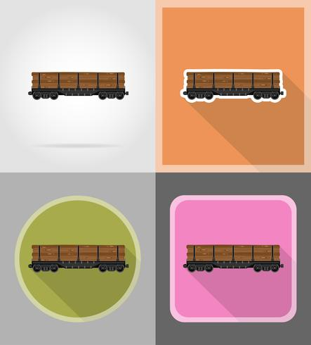 ferroviaria, tren, plano, iconos, vector, ilustración vector