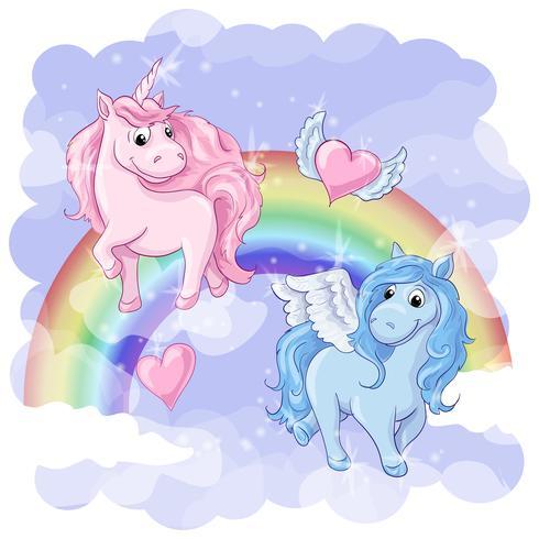 Fantástica postal con Pegasus y Unicornio. vector