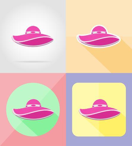 beach hat flat icons vector illustration