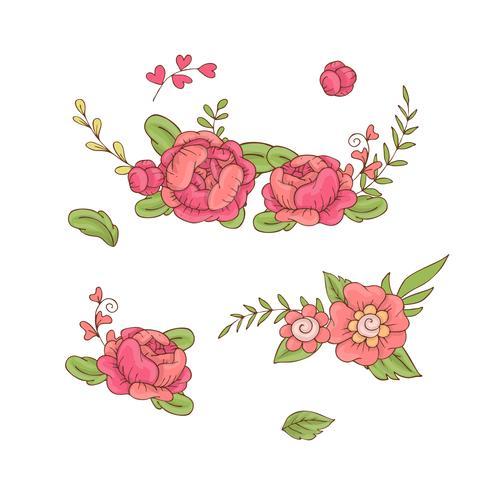 Set of floral bouquets, retro flowers. Vector