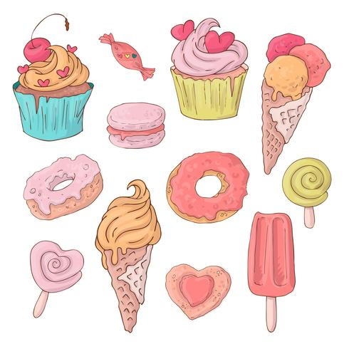 Set di dolci simpatico cartone animato per San Valentino con accessori.