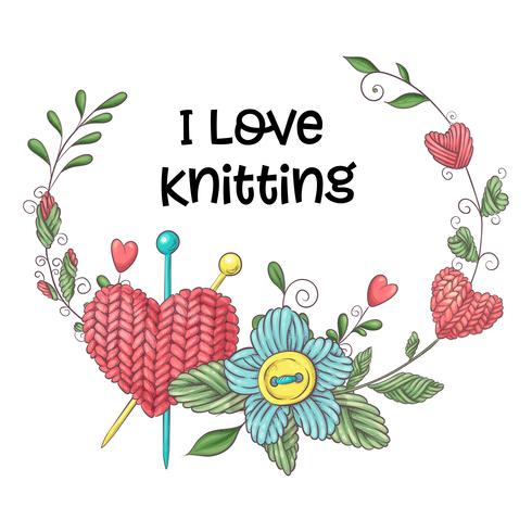 Simple illustration with knitting needle, knitting and english text. I love knitting, poster design. Colorful background. vector