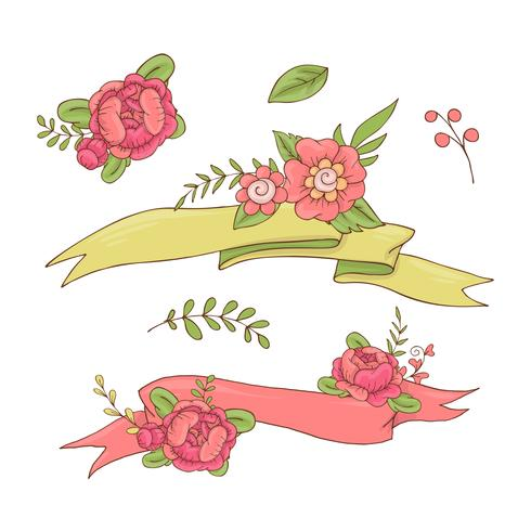 Vintage Floral Ribbon. Hand drawn doodle Banner with Wild Flowers.