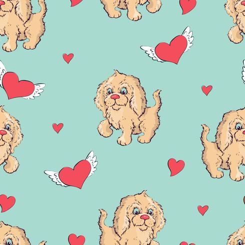 seamless pattern with dogs, childish pattern with dogs, vector textile fabric print, wrapping paper.